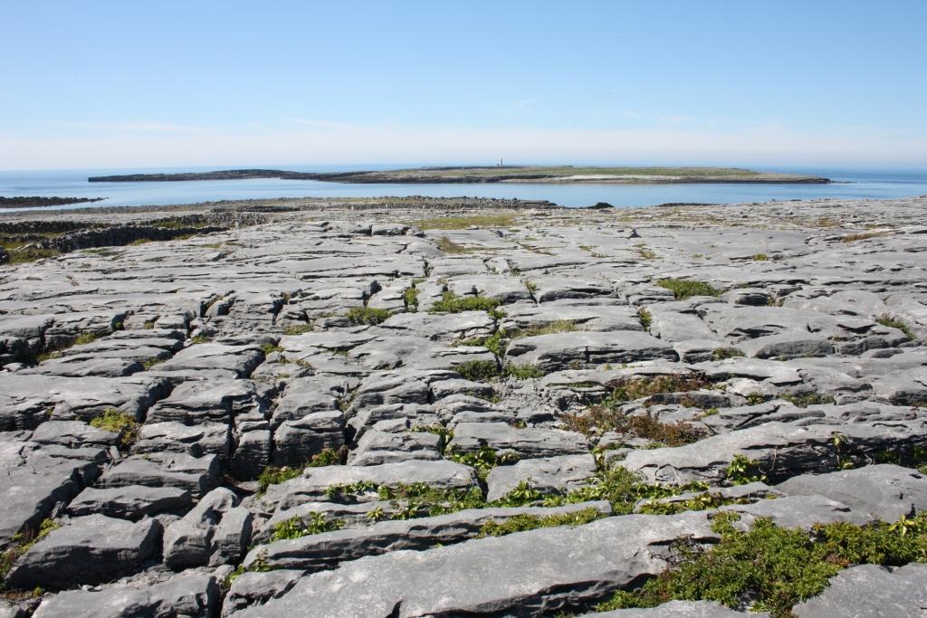 Leiras rochosas das Illas de Aran, esquilmadas polo uso intensivo. Ó fondo, as Illas de Brannock