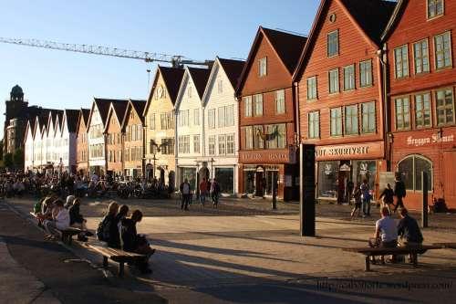 Barrio de Bryggen en Bergen. Noruega