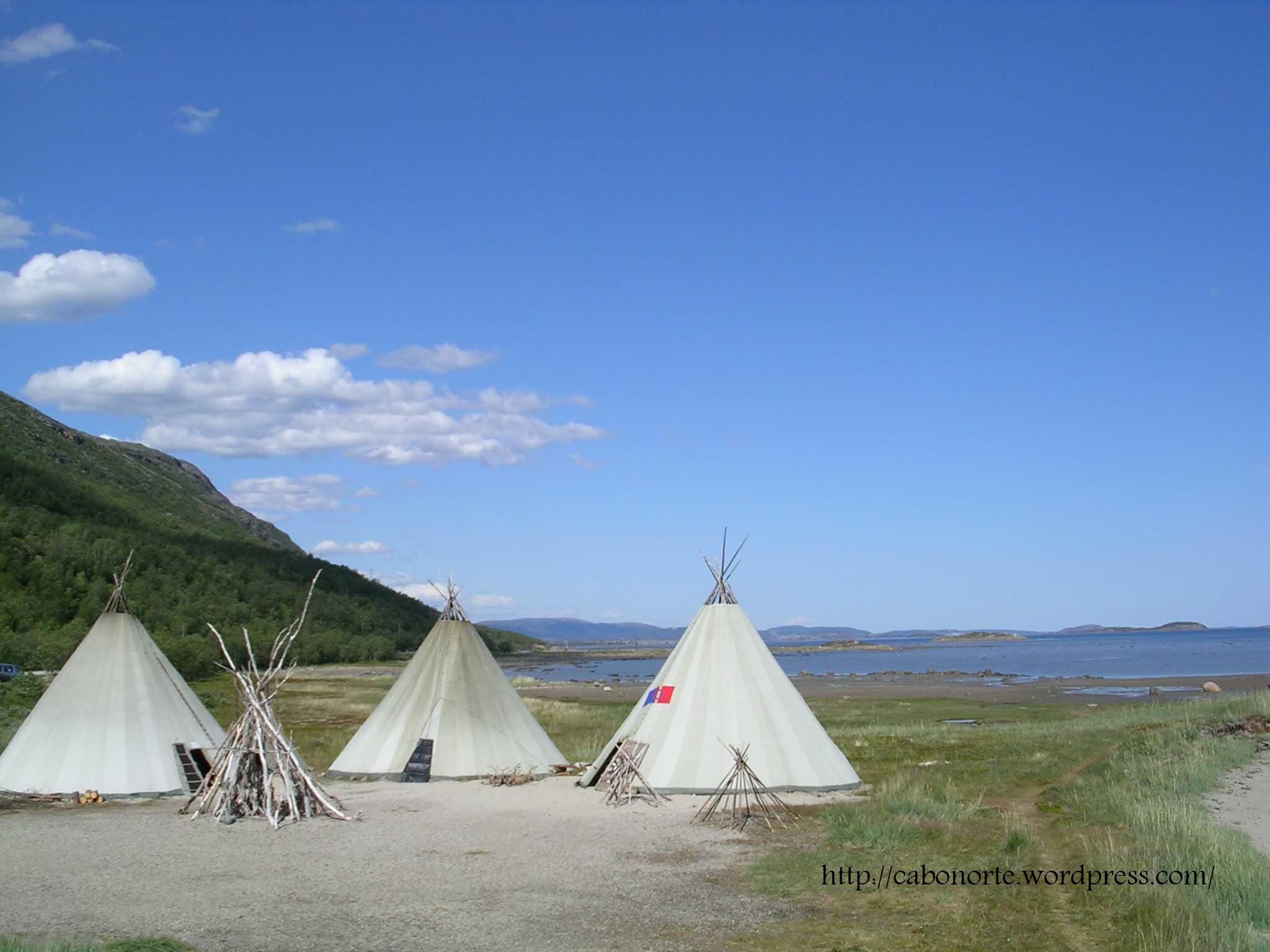 Sami tents in Porsangen Fjord, Norway