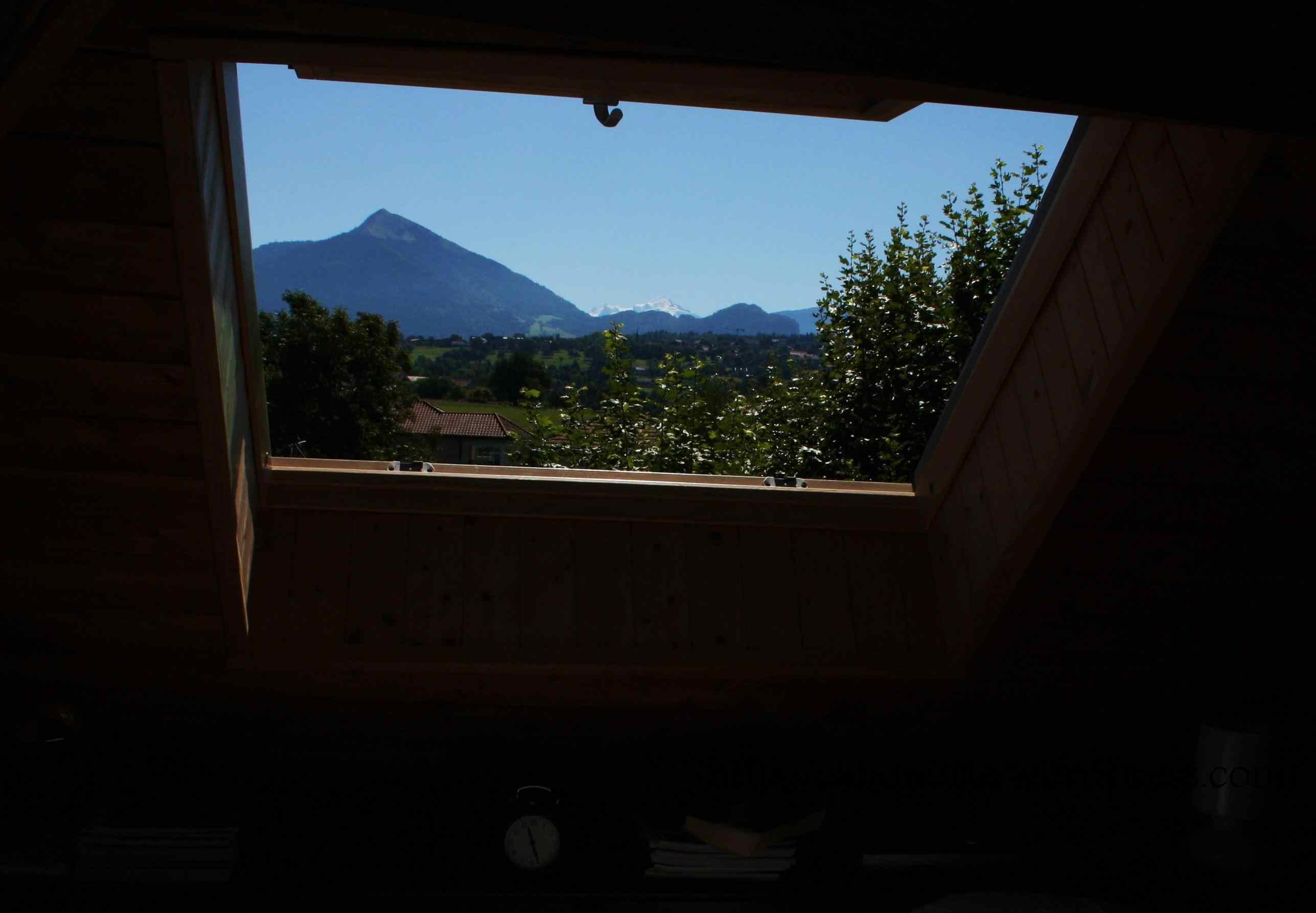 O Mont Blanc, dende o apartamento de Filinges